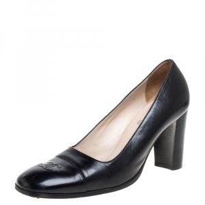 Chanel Black Leather CC Pumps Size 40