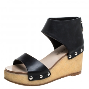 Chanel Black Leather Ankle Cuff Studded Platform Wedge Sandals Size 38