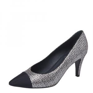 Chanel Metallic Black/Silver Suede And Canvas Pointed Cap Toe Pumps Size 38.5