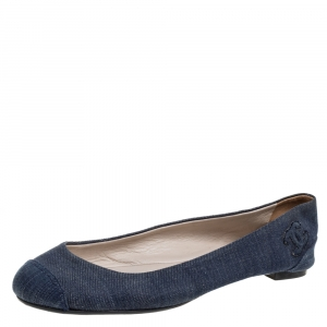 Chanel Blue Fabric Denim Ballet Flats Size 38
