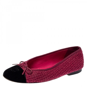 Chanel Fuchsia/Black Tweed and Velvet Bow CC Cap Toe Ballet Flats Size 38.5 - used