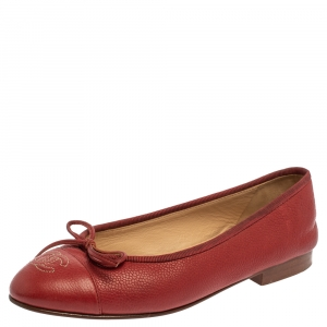 Chanel Red Leather CC Cap Toe Bow Ballet Flats Size 35