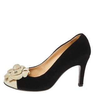 Chanel Black/White Velvet Camellia CC Cap Toe Pumps Size 37