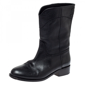 Chanel Black Leather CC Mid Length Boots Size 38