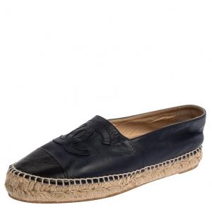 Chanel Blue/Black Leather CC Cap Toe Espadrille Flats Size 38