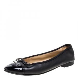Chanel Black Leather Cap Toe CC Bow Ballet Flats Size 39.5