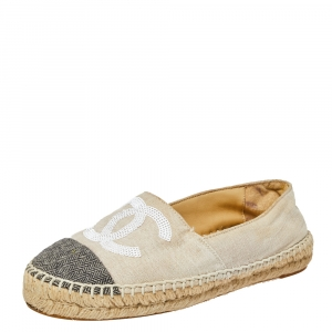 Chanel White/Black Canvas And Tweed Fabric Sequins Embellished CC Cap Toe Espadrilles Flats Size 37