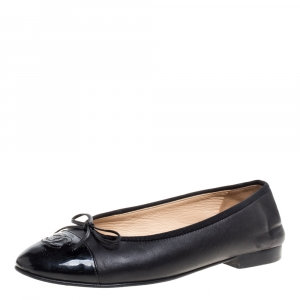 Chanel Black Leather And Patent Leather Bow CC Cap Toe Ballet Flats Size 39
