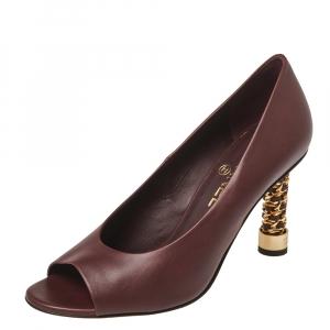 Chanel Burgundy Leather Chain Embellished Heel Peep Toe Pumps Size 38.5
