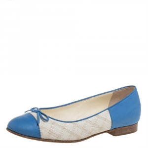 Chanel Blue/White Leather And Canvas Bow Cap Toe Ballet Flats Size 36