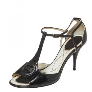 Chanel Black Patent Leather T-Strap Sandals Size 37.5
