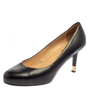 Chanel Black Leather CC Heel Pumps Size 38