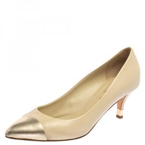 Chanel Cream White/Metallic Gold Leather Cap Toe Pumps Size 37.5