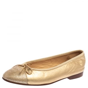 Chanel Gold Leather CC Cap Toe Bow Ballet Flats Size 37.5