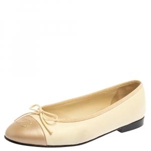 Chanel Cream/Metallic Beige Leather CC Cap Toe Bow Ballet Flats Size 37.5