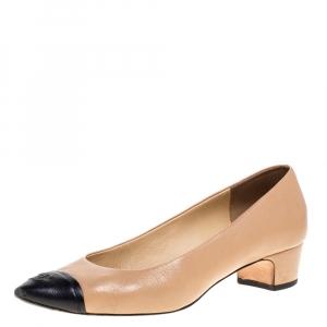 Chanel Beige/Black Leather CC Cap Toe Block Heel Pumps Size 39.5