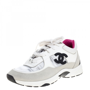 Chanel Tri Color Leather and Suede CC Logo Low Top Sneakers Size 39