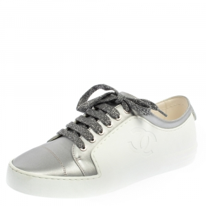 Chanel White/Silver Leather CC Low Top Sneakers Size 37