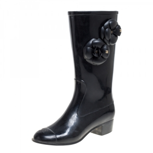 Chanel Black Rubber Camellia Rain Boots Size 38 - used