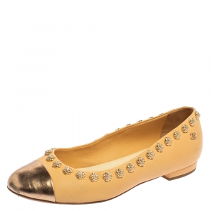 Chanel Cream/Rose Gold Leather CC Cap Toe Camellia Studded Ballet Flats Size 36