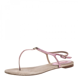 Chanel Metallic Pink Textured Leather CC Embellished T Strap Flat Thong Sandals Size 40 - used