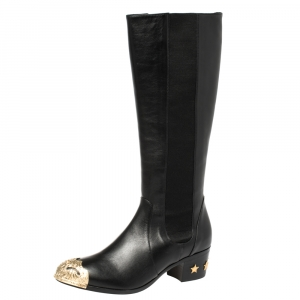 حذاء بوت شانيل مرتفع للركبة باريس دلاس جلد أسود مقاس 39