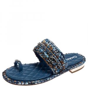 حذاء بإصبع شانيل فلات سى سى جلد ورافيا أزرق مقاس 39.5