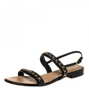 Chanel Black Leather CC Chain Detail Slingback Flat Sandals Size 41