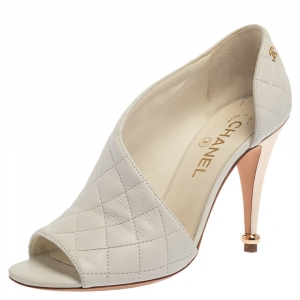 Chanel White Quilted Leather CC Open Toe Pumps Size 38