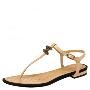 Chanel Beige/ Black CC Logo T Strap Thong Sandals Size 39