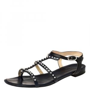 Chanel Blue/Black Leather Pearl Embellished Ankle Strap Flats Size 39