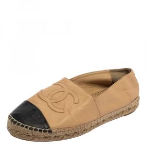 Chanel Beige/Black Leather CC  Espadrille Flats Size 38