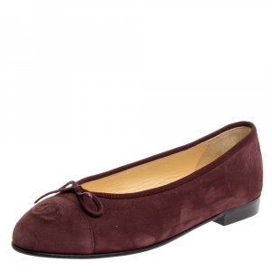 Chanel Burgundy Suede CC Cap Toe Bow Flats Size 37.5