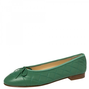 Chanel Green Quilted Caviar Leather CC Bow Ballet Flats Size 37.5