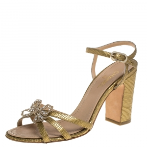 Chanel Gold Leather Butterfly Embellished Sandals Size 38 - used