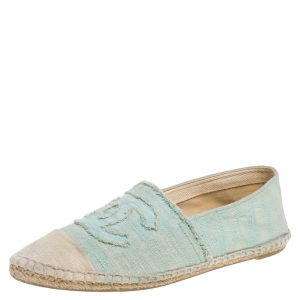 Chanel Green/White Canvas CC Cap Toe Flat Espadrilles Size 38 - used