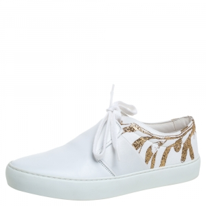 Chanel White Leather Lace Up Low Top Sneakers Size 36