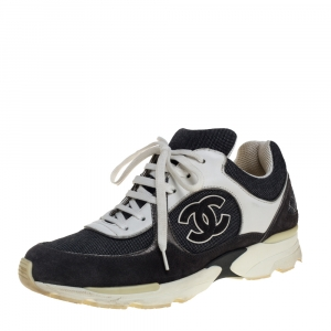 Chanel Grey/White Canvas And Leather CC Trainer Sneakers Size 39