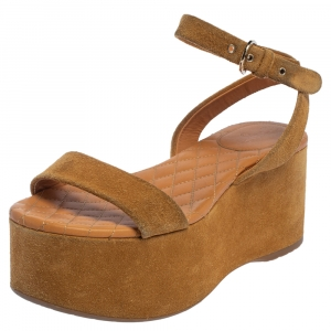 Chanel Brown Suede Ankle Wrap Wedge Sandals Size 37 - used