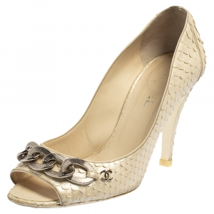 Chanel White Python CC Chain Peep Toe Pumps Size 38