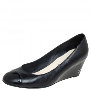Chanel Black Leather And Patent Leather Cap Toe Wedge Pumps Size 38.5
