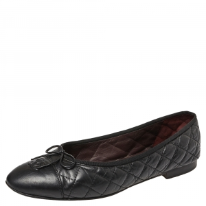 Chanel Black Quilted Leather CC Bow Flats Size 42