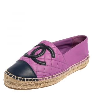 Chanel Purple Quilted Leather CC Flat Espadrile Size 37