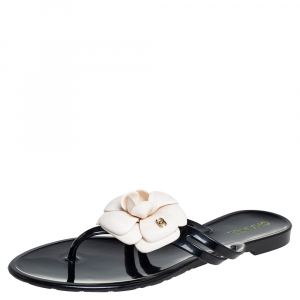 Chanel Black Rubber And Leather Jelly CC Thong Flat Size 39