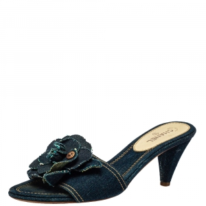 Chanel Blue Denim Camellia Mules Sandals Size 37
