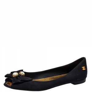 Chanel Black Fabric Pearl Embellished Peep Toe Ballet Flats Size 39.5