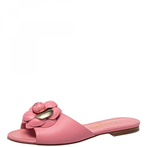 Chanel Pink Leather CC Camellia Flat Slides Size 36
