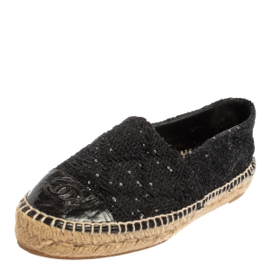 Chanel Black Sequins Tweed And Leather CC Espadrille Flats Size 38