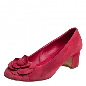 Chanel Red Suede Camellia Block Heel Pumps Size 37