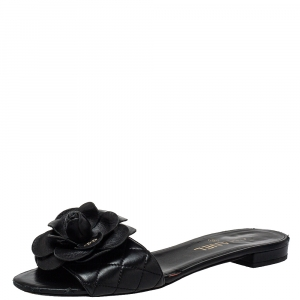 Chanel Black Quilted Leather Camellia Embellished CC Flat Slides Size 39.5